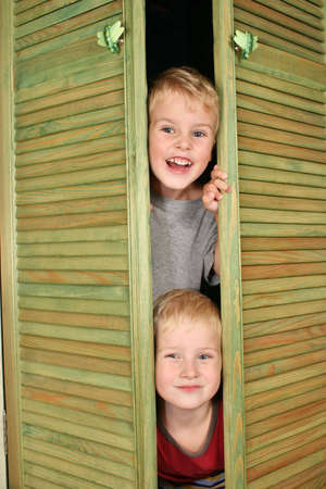 children from closet photo