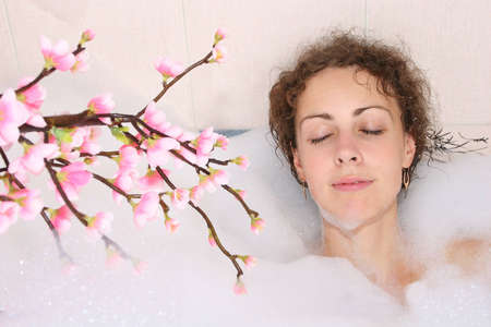 girl in bath with branch Stock Photo - 763169
