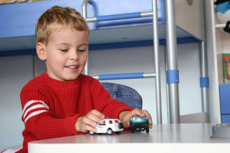 child play with cars Stock Photo