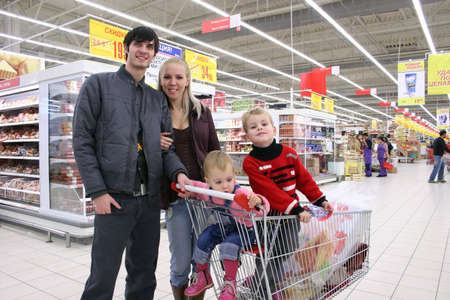 family of four in shop Stock Photo - 811148