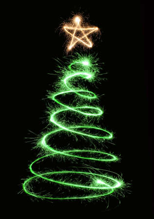 green sparkler christmas tree spiral photo
