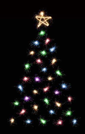multicolor sparkler christmas tree 2 photo