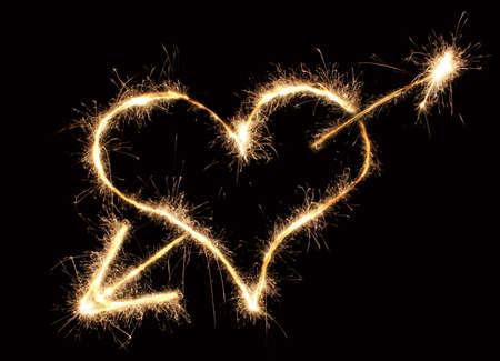coeur et flèche Sparkler  Banque d'images