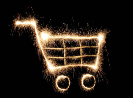 super hot: shopping cart sparkler Stock Photo