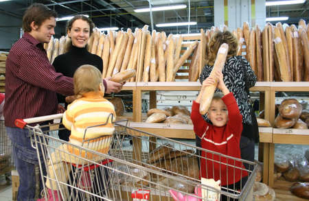 family in bread shop photo