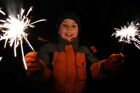 sparklers: child with sparklers