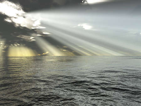 boundless: rays of light and ocean Stock Photo