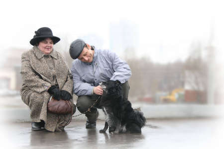 senior couple with dog photo