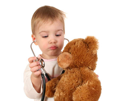 with stethoscope and toy
