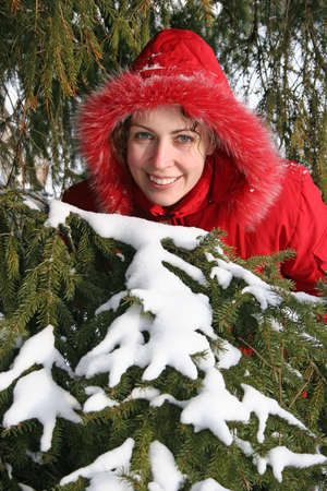 winter tree woman Stock Photo - 906597
