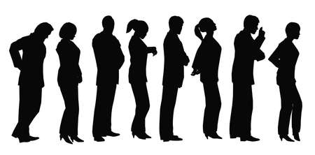 people in a row: business lineup Stock Photo
