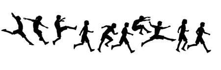 run way: jumping running children Stock Photo