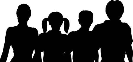 family of four silhouette photo