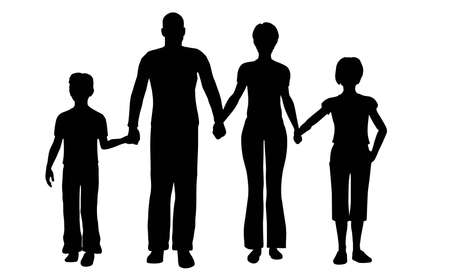poser: family of four vector Stock Photo