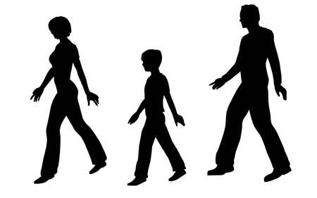 walking family vector photo