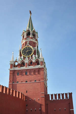 kremlin tower with clock moscow photo