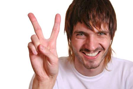 okay sign: beardman with victory fingers Stock Photo