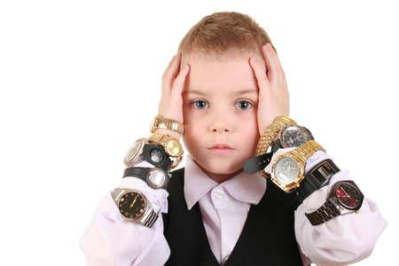 lamentable: sad boy with clocks