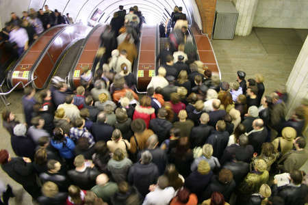 escalator crowd Stock Photo