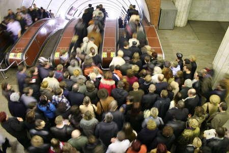 blur subway: escalator crowd Stock Photo