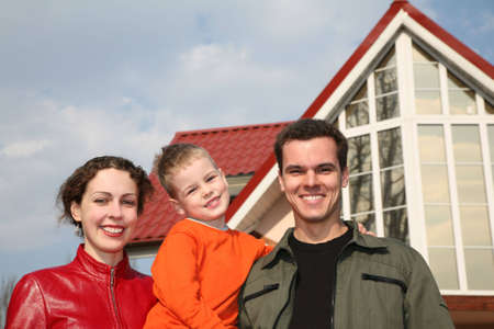 family and house Stock Photo