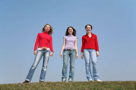 helpmate: girls stand on meadow