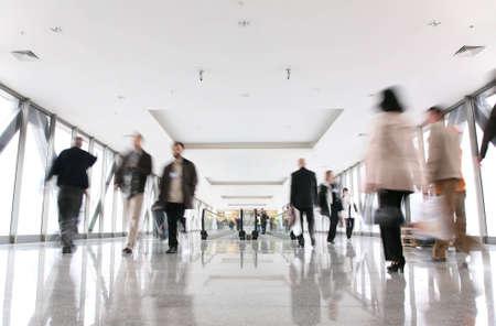 croud: moving croud and escalator Stock Photo