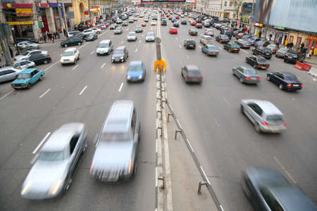 many cars on big moscow road photo