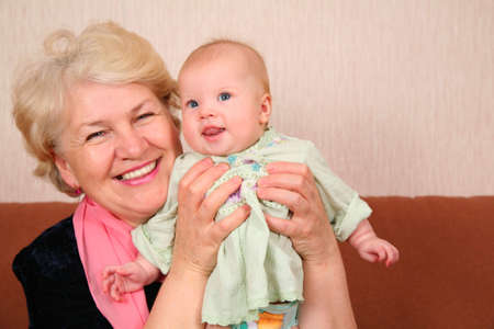 grandmother and grandson: grandmother with baby Stock Photo