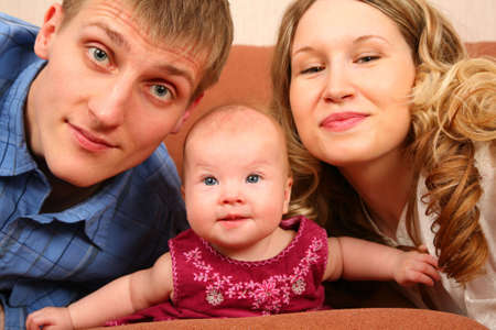 parents with 4 months baby Stock Photo - 5221485