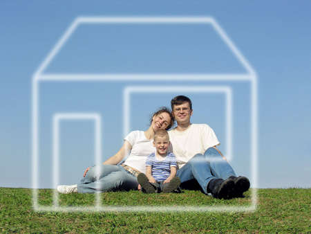 grass  plan: family with son and house of dream Stock Photo