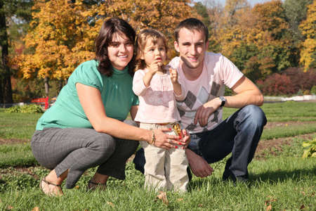 family in the park in autumn Stock Photo - 2281304