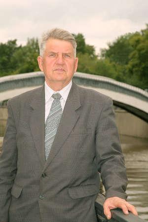 elderly man in the bridge Stock Photo - 2281314