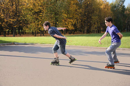 rollerblades: two rollers in the motion Stock Photo