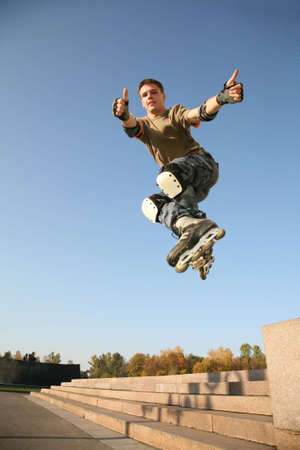 roller blade: roller jumps 5 Stock Photo