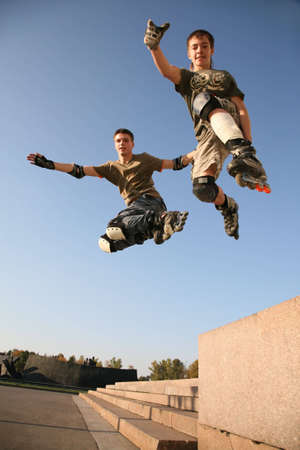 roller blade: two rollers jump Stock Photo