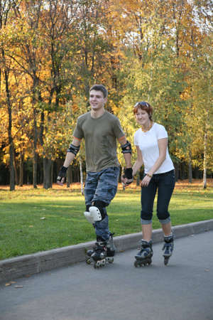 rollerblading: roller couple Stock Photo