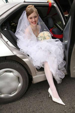 bride in car photo