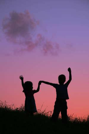 children on sunset Stock Photo - 2281431