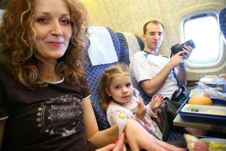 family airplane salon Reklamní fotografie