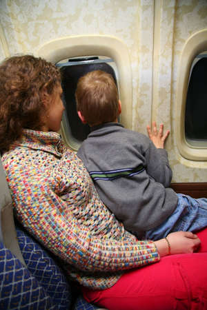 mother child airplane  photo