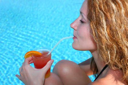 woman cocktail pool photo