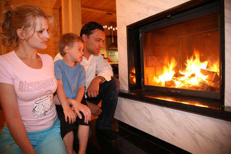 burning man: family and fireplace