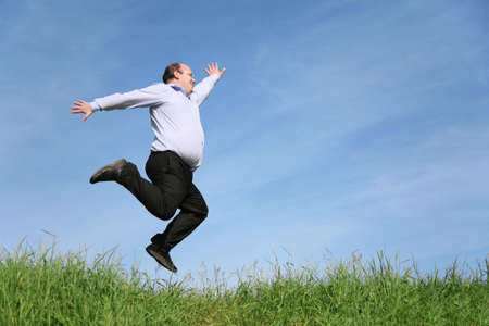 jump fat boy Stock Photo