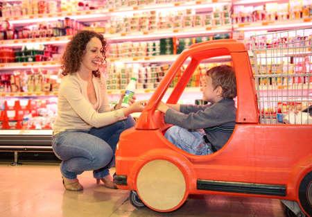 mother son market Stock Photo