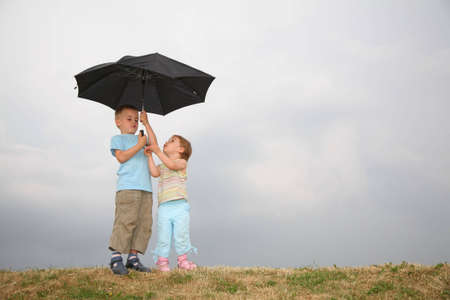 dreary: child with the umbrella