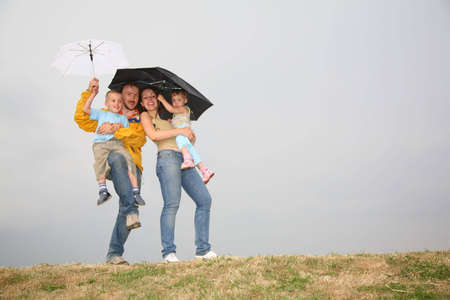 fall protection: family with the umbrellas