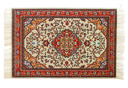 wool rugs: oriental carpet isolated on white background