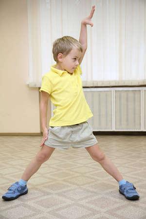 exersice: boy makes the exersice Stock Photo