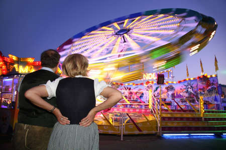 couple look at night view of attrraction park Stock Photo - 2297422